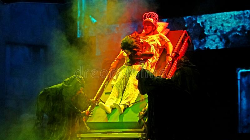 SINGAPORE - 16 OCTOBER 2018 : Universal Studio Halloween Horror Night 8th event, this festival opening at nights of October to cha. A SINGAPORE - 16 OCTOBER 2018 royalty free stock image