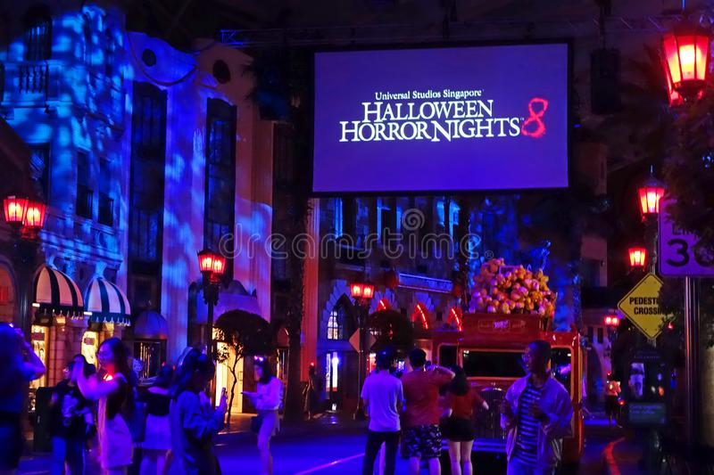 SINGAPORE - 16 OCTOBER 2018 : Universal Studio Halloween Horror Night 8th event, this festival opening at nights of October to cha. A SINGAPORE - 16 OCTOBER 2018 stock images