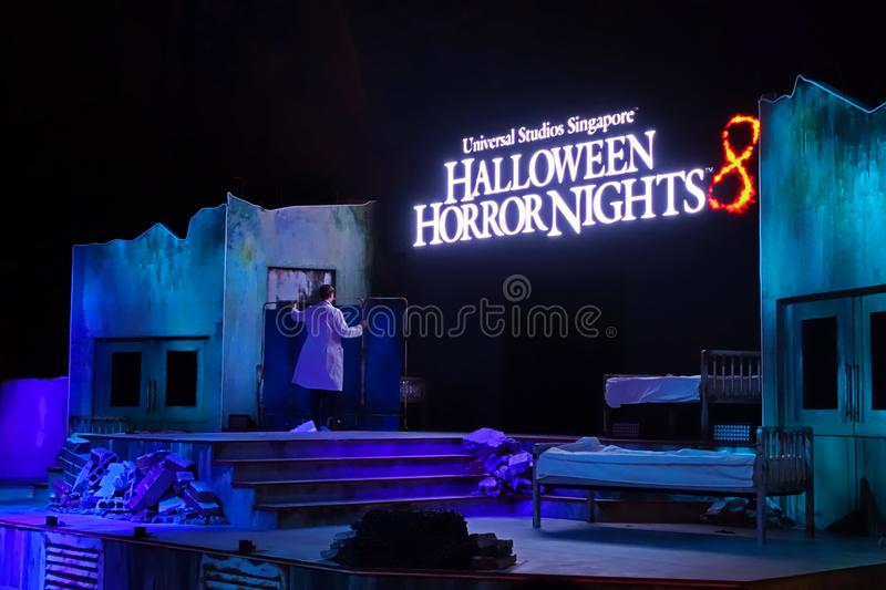 SINGAPORE - 16 OCTOBER 2018 : Universal Studio Halloween Horror Night 8th event, this festival opening at nights of October to cha. A SINGAPORE - 16 OCTOBER 2018 stock photography