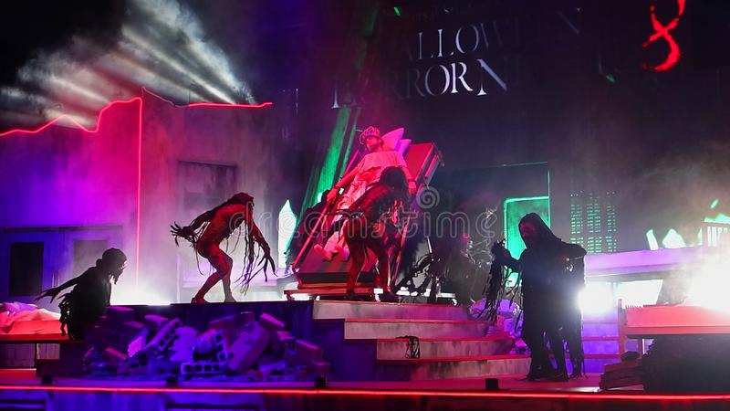 SINGAPORE - 16 OCTOBER 2018 : Universal Studio Halloween Horror Night 8th event, this festival opening at nights of October to cha. A SINGAPORE - 16 OCTOBER 2018 stock image