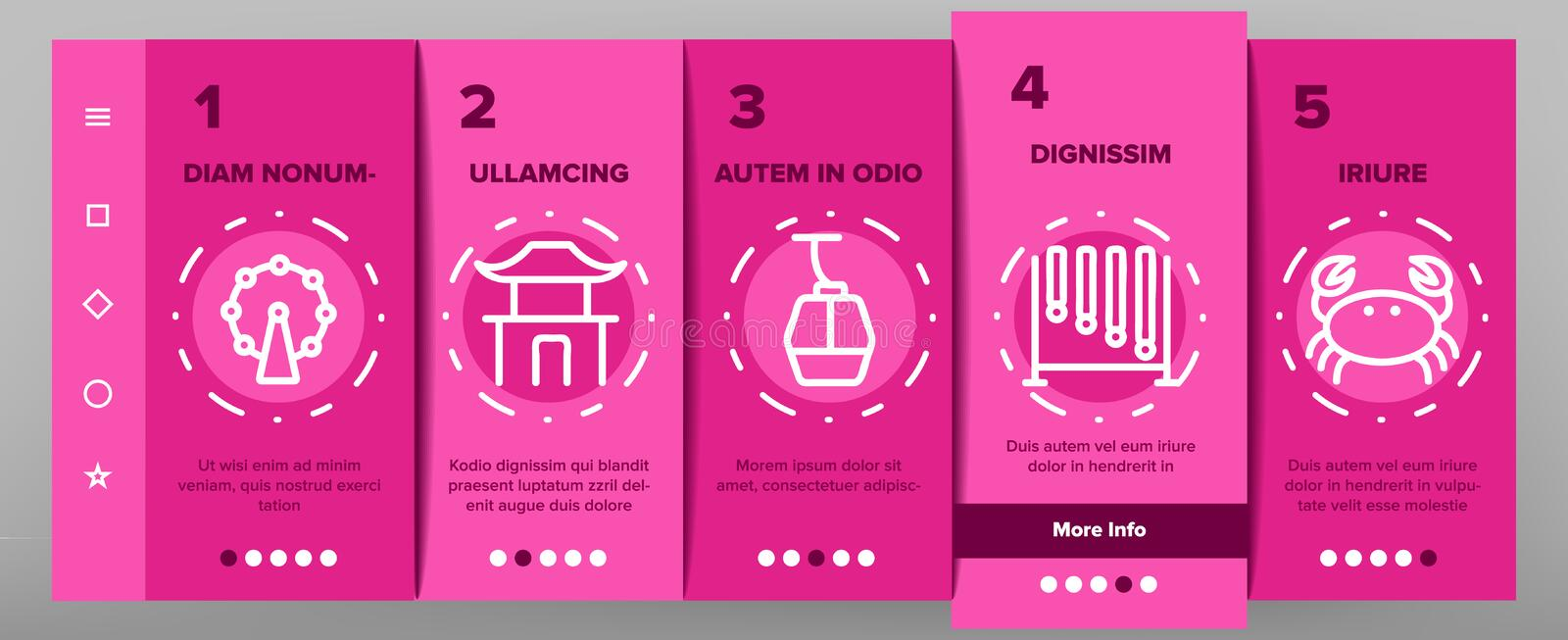 Singapore Onboarding Icons Set Vector illustrazione di stock