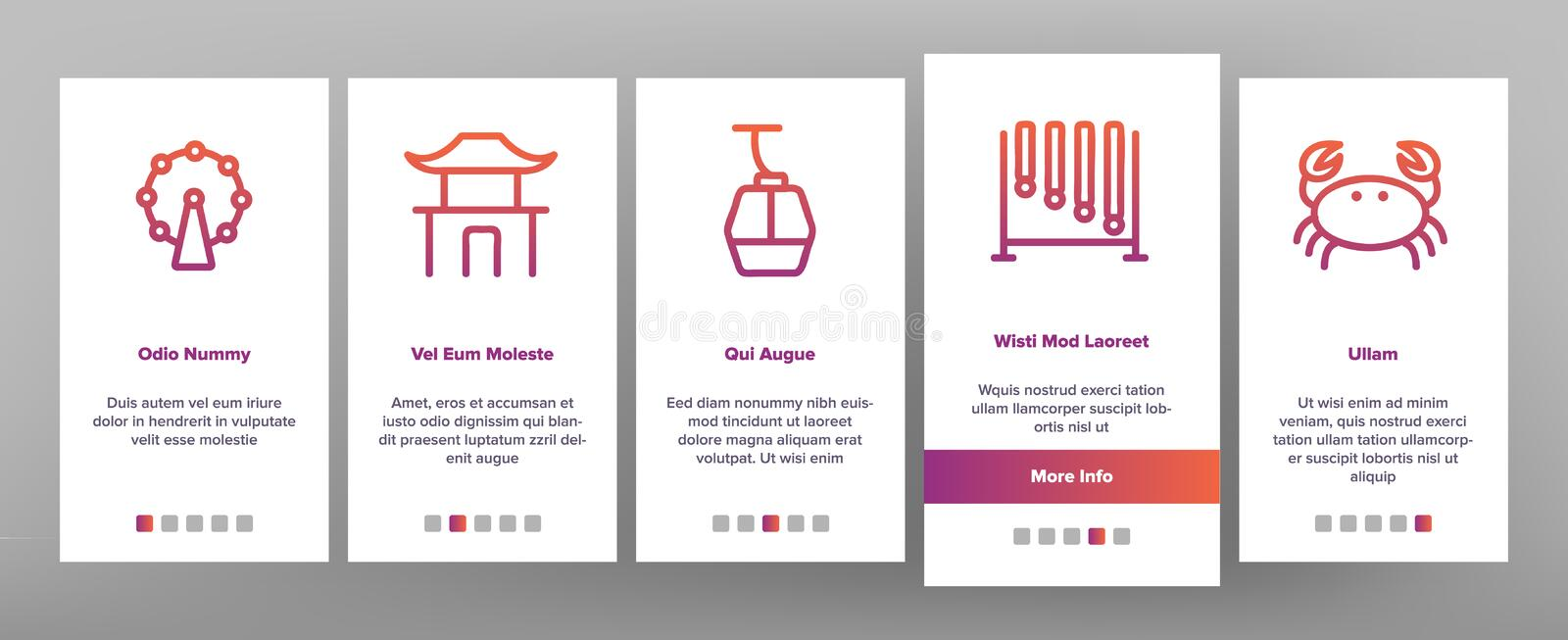 Singapore Onboarding Icons Set Vector illustrazione vettoriale