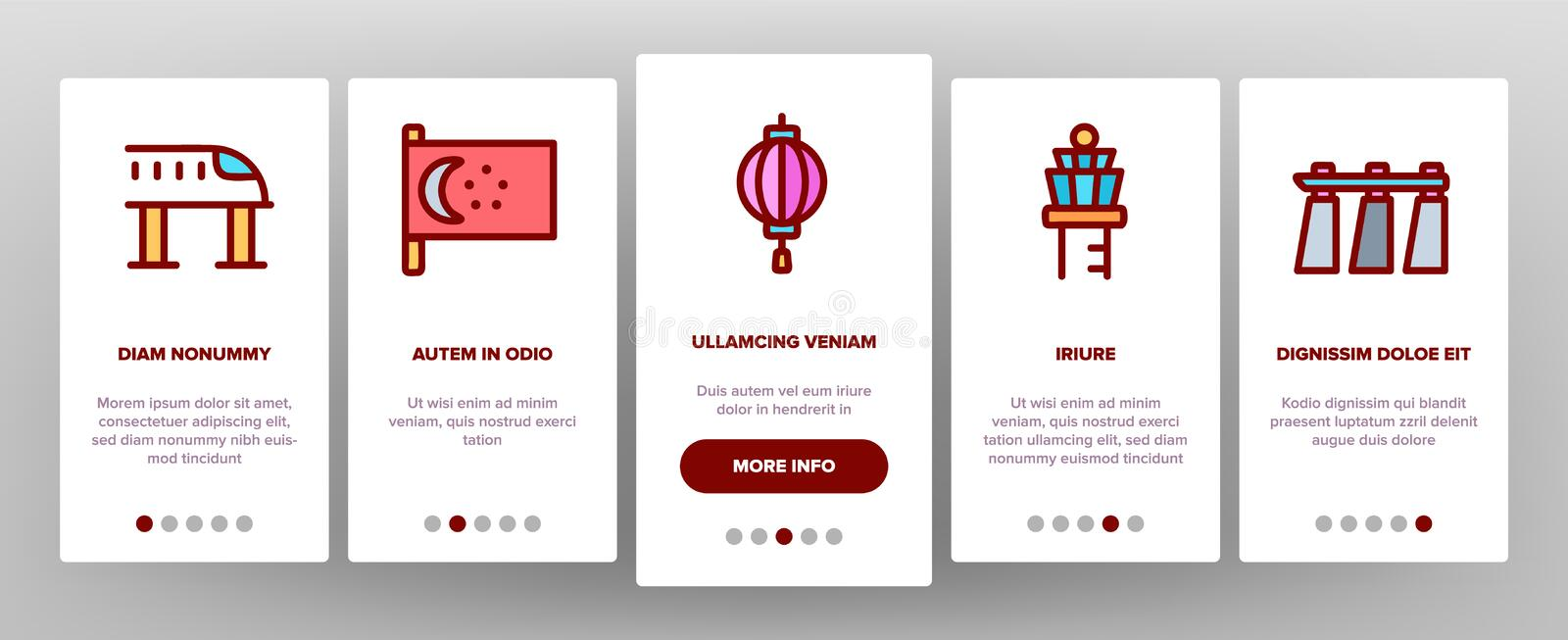 Singapore Onboarding Icons Set Vector royalty illustrazione gratis