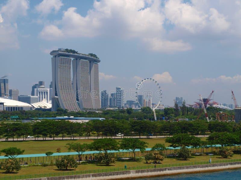 Singapore panoramautsikt från kryssningskeppet Singapore arkivbilder
