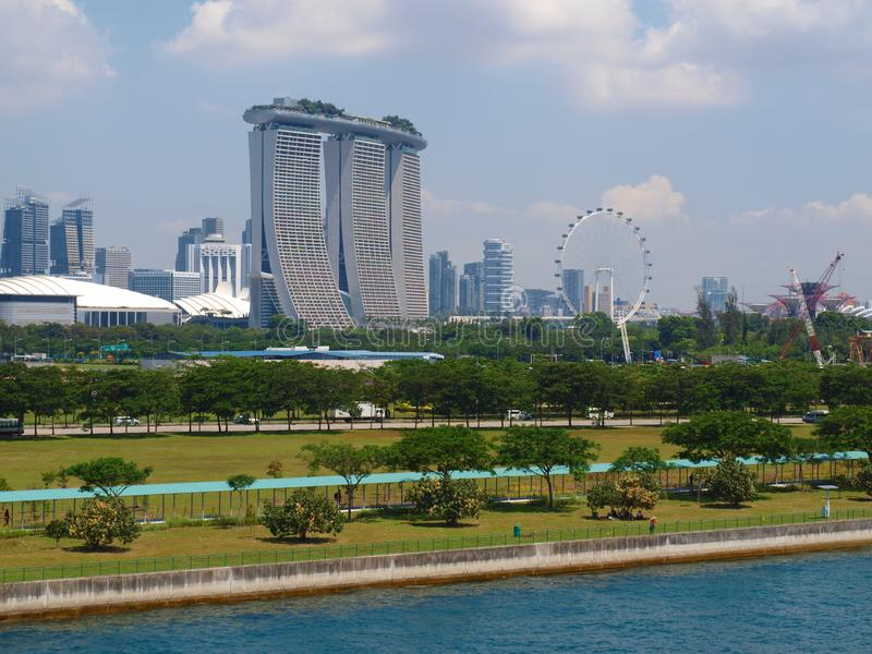 Singapore panoramic view from cruise ship Singapore stock images