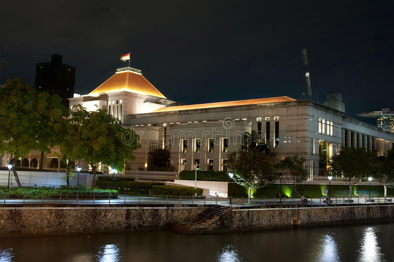 Singapore Parliament. Night view of the Parliament building in Singapore royalty free stock photography