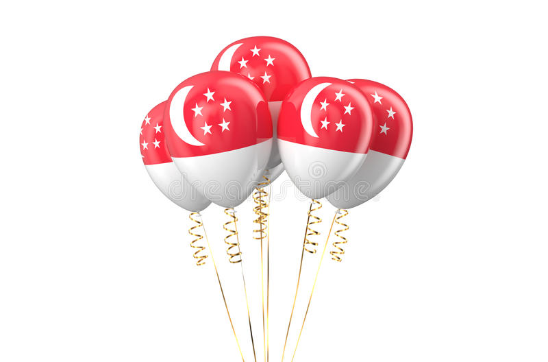 Singapore patriotic balloons holyday concept. Singapore patriotic balloons, holyday concept isolated on white background royalty free illustration