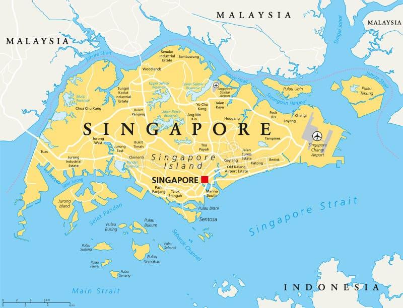 Singapore politisk översikt stock illustrationer
