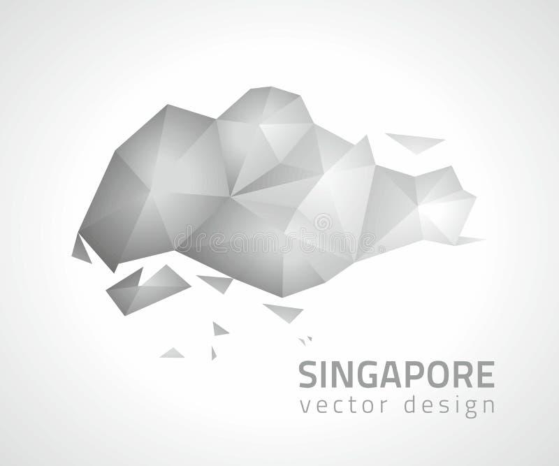 Singapore polygonal grå och för silvervektormosaik översikt vektor illustrationer