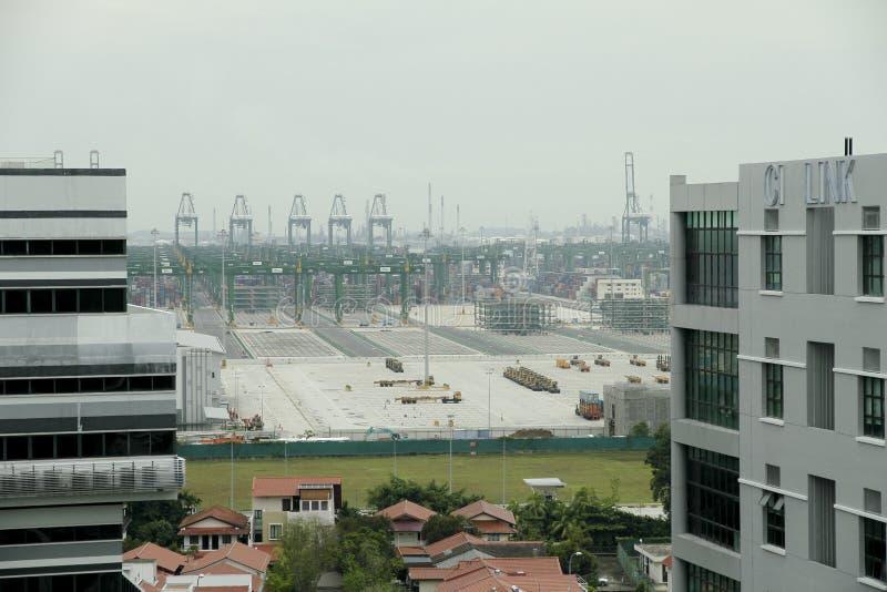 Singapore: Porto, contenitori immagine stock libera da diritti