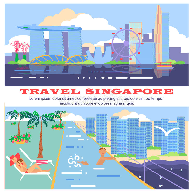Singapore reklambladstad och hotell stock illustrationer