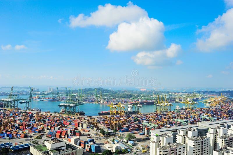 De commerciële haven van Singapore stock fotografie
