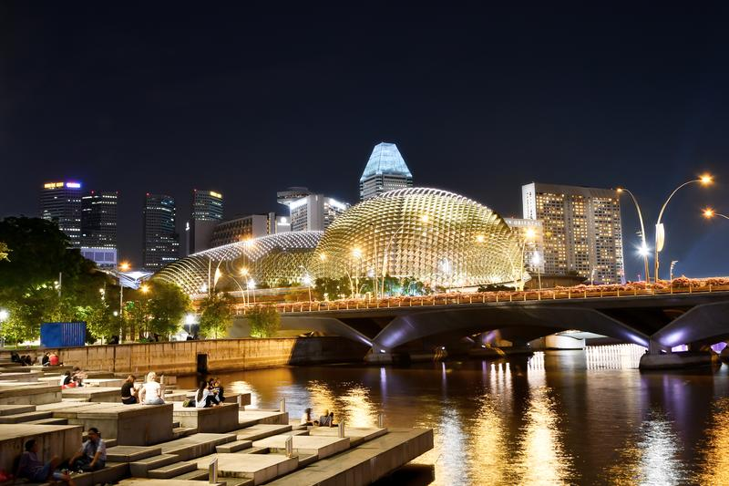 Singapore River Stepped Plazas at Night. With Esplanade, Theatres on the Bay and Esplanade Bridge in the background royalty free stock image