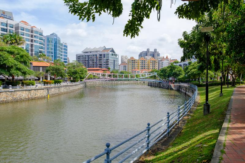Singapore River Walking Route is suitable for walking stock photography