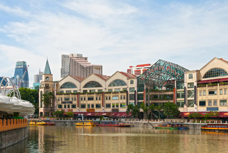 Singapore, Rivieroeverpunt stock foto's