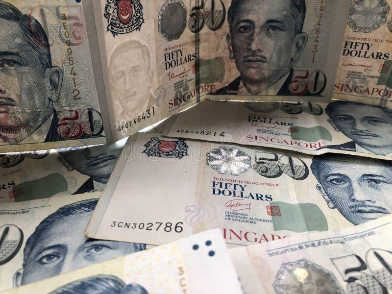 Singapore $50 sedlar, full ram royaltyfria foton