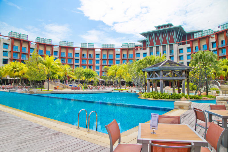 Singapore sentosa Hotel. 2015, the Singapore to sign the tourist attractions, one of the sentosa Hotel,There is a beautiful swimming pool royalty free stock photos