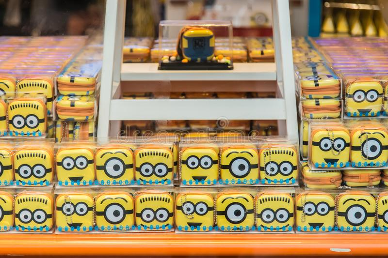 Singapore-26 SEP 2017:cute minions boxes on sale in Singapore universal studio stock photography