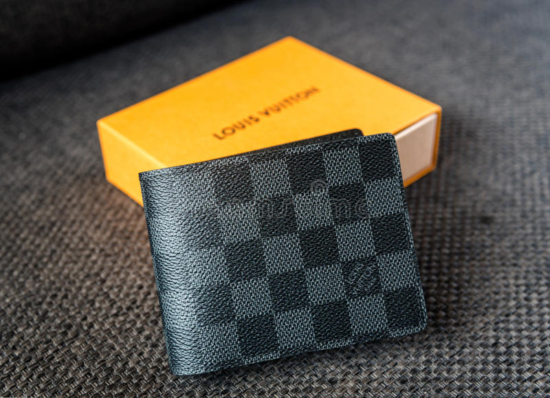Singapore - SEP 11, 2016: A Louis Vuitton wallet standing . Louis Vuitton is a luxury designer brand. royalty free stock photos