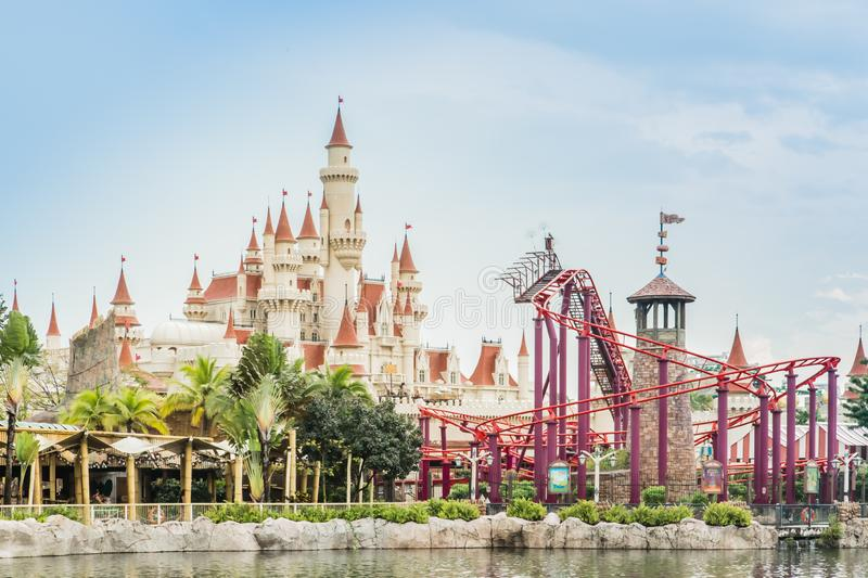 Singapore-26 SEP 2017: Singapore universal studio castle and roller coaster day view royalty free stock photos