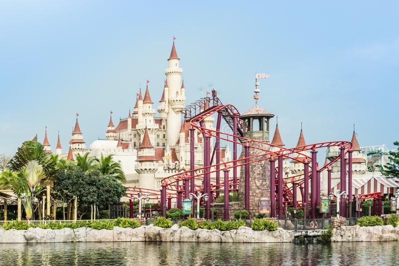 Singapore-26 SEP 2017: Singapore universal studio castle and roller coaster day view stock photo