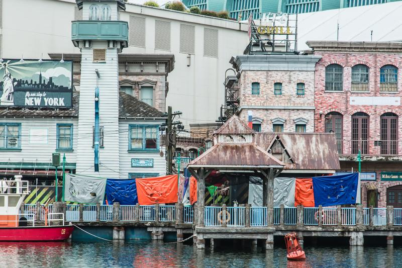 Singapore-26 SEP 2017: Singapore universal studios New York town part day view royalty free stock images