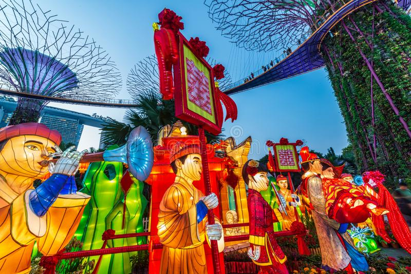 Singapore / September 06 2019 : Chinese Mid-Autumn Lantern Festival at Garden By The Bay overseeing Marina Bay Sands Hotel in royalty free stock photo
