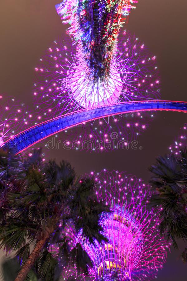 Singapore, September 29: Gardens by the Bay. Night view of the light tree show in Singapore. Gardens by the Bay. Night view of the light tree show in Singapore stock photo