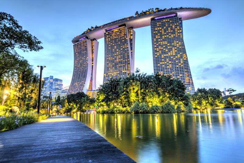 Singapore, September 29: Incredible evening view of Marina Bay Sands royalty free stock image