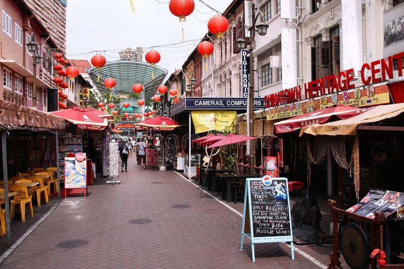 Singapore shopping. SINGAPORE - FEBRUARY 3: People shop in Chinatown on February 3, 2008 in Singapore. Chinatown is a busy shopping destination with multiple stock photo