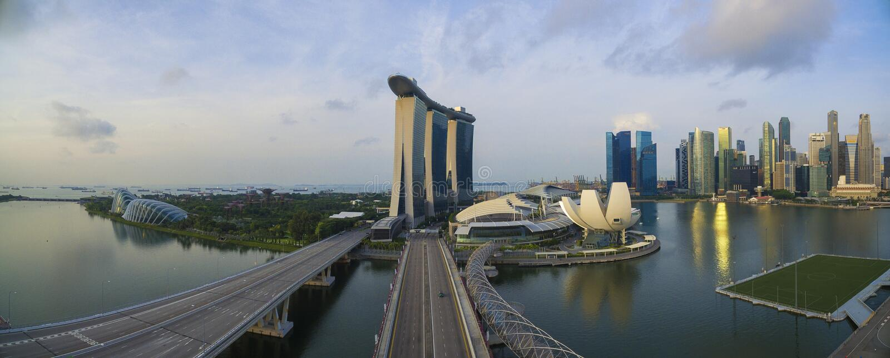Singapore,Singapore – July 2016 : Aerial view of Singapore city skyline in sunrise or sunset at Marina Bay, Singapore royalty free stock photo
