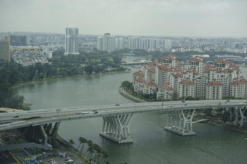 View of the city from Singapore Flyer stock images