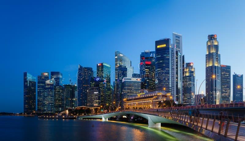 SINGAPORE, SINGAPORE - CIRCA 2016: District het Van de binnenstad en Financiële van Singapore stock fotografie