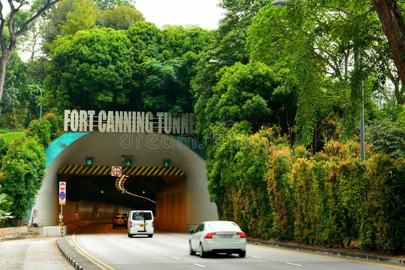 Entrance to the Fort Canning tunnel in Singapore royalty free stock image
