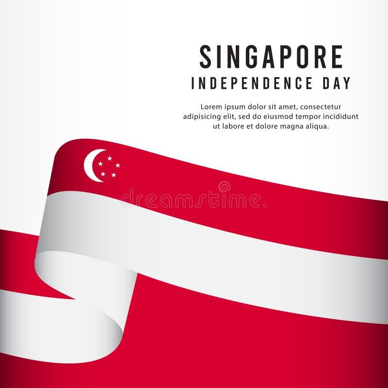 Singapore självständighetsdagenberöm, illustration för mall för vektor för fastställd design för baner stock illustrationer
