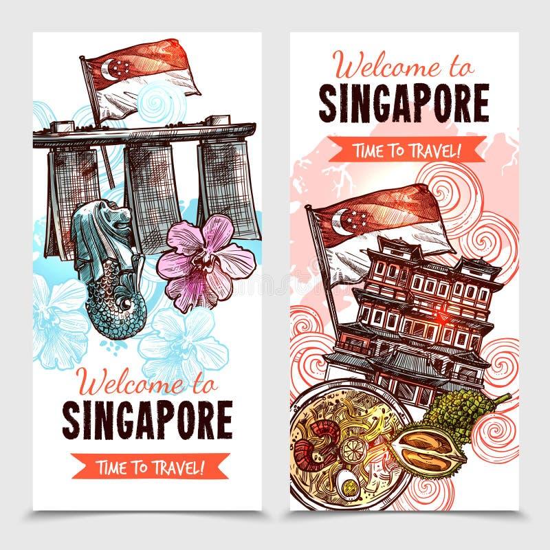 Singapore skissar vertikala baner stock illustrationer