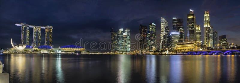 Singapore Skyline Along River Panorama royalty free stock images