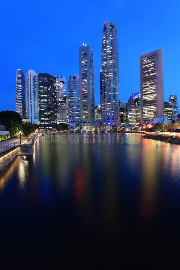 Free Singapore Skyline At Night Stock Photo - 13871050