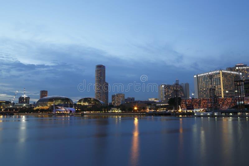 Singapore Skyline. Blue hour of Singapore skyline stock image