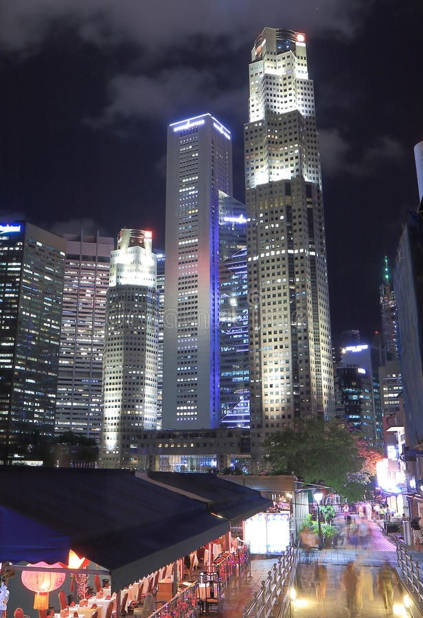 Singapore skyline and Boat Quay by night. Beautiful downton Singapore skyline and Boat Quay night view royalty free stock image