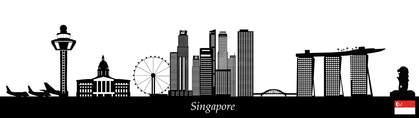 Singapore skyline royalty free illustration