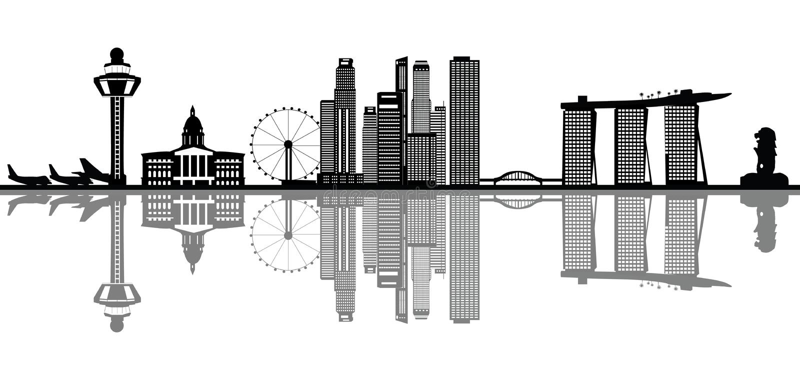Singapore skyline. Singapore city skyline asia with towers and swimming pool