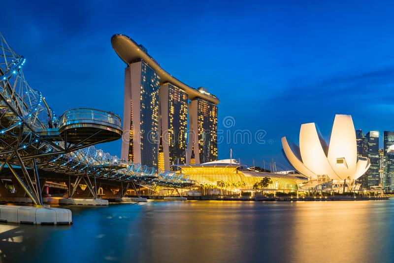 Singapore skyline cityscape at twilight at Marina Bay royalty free stock image