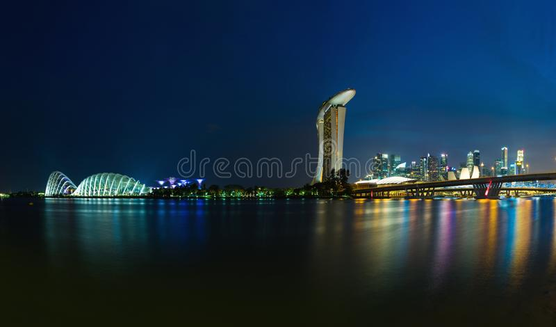 Singapore skyline cityscape at twilight at Marina Bay stock photo