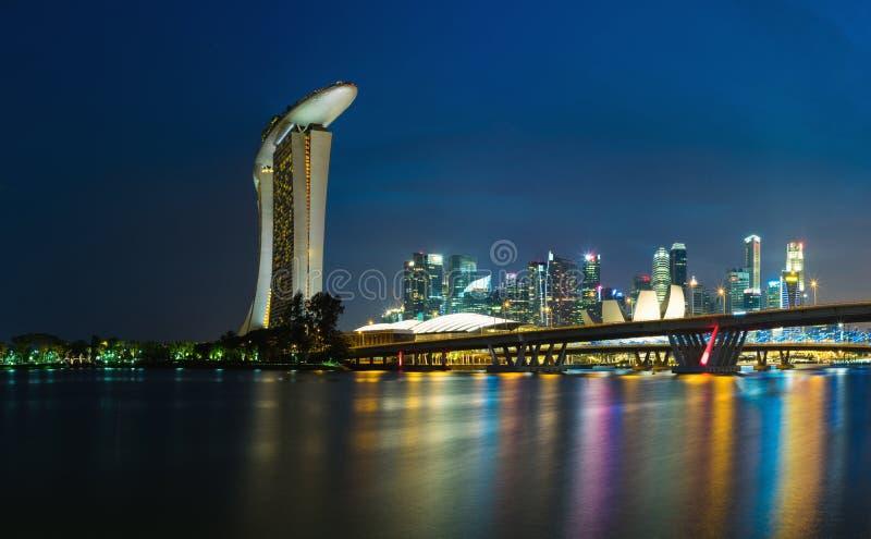 Singapore skyline cityscape at twilight at Marina Bay stock photos