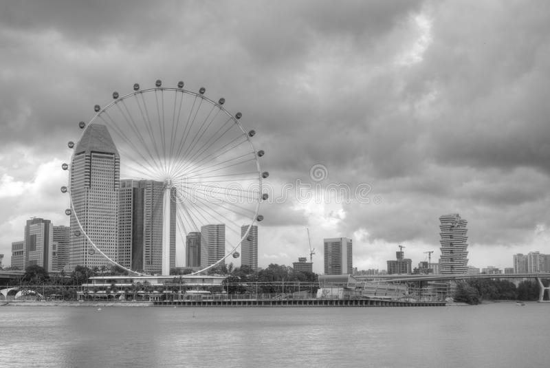 Singapore skyline featuring the Singapore Flyer stock photos