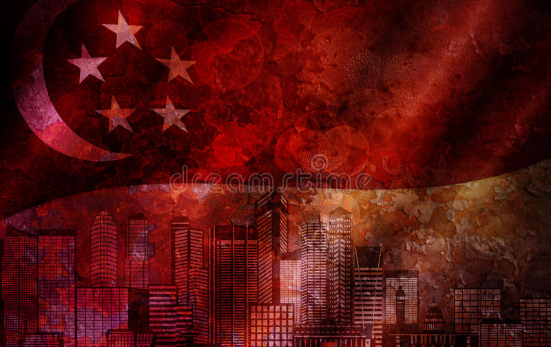 Singapore Skyline and Flag Grunge Background vector illustration