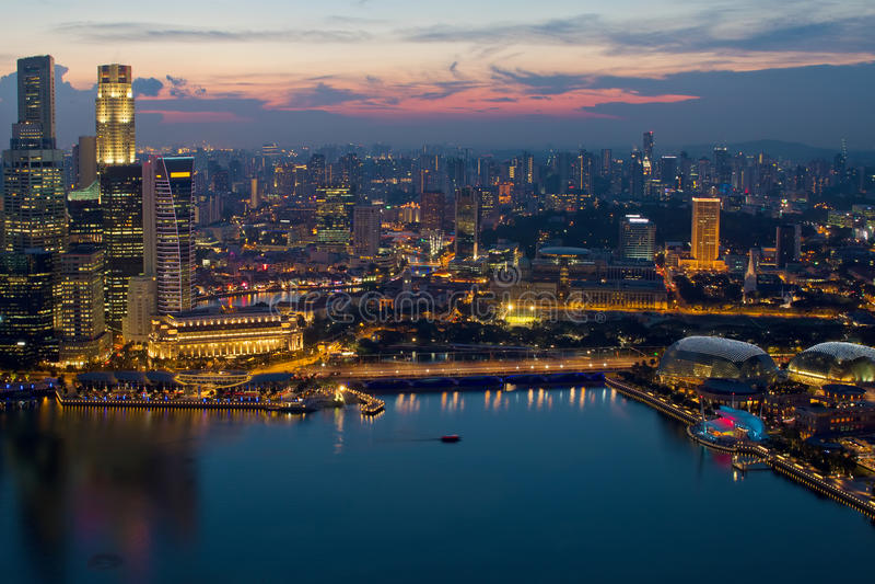 Download Singapore Skyline Marina Bay Esplanade Sunset Stock Image - Image of marina, aerial: 21080881