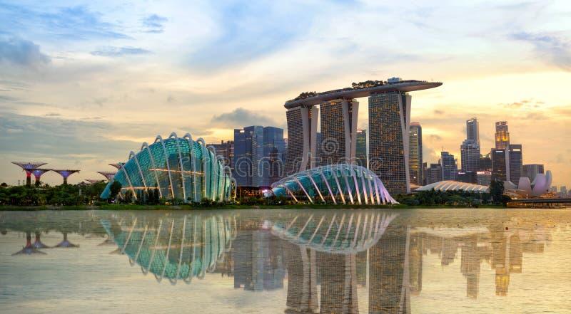 Singapore skyline at sunset. Singapore skyline and Marina Bay at sunset royalty free stock image