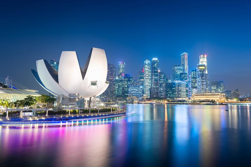 Singapore skyline at the Marina royalty free stock images